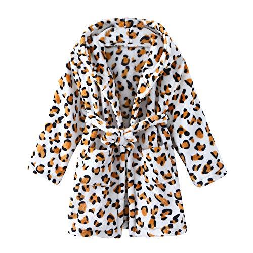 Kids Boys Girls Hooded Bathrobes Thick Warm Flannel Dressing Gown Children Soft Plush Fleece Nightgown Toddler Unisex Leopard Camouflage Design Robe Pajamas Sleepwear Nightwear 2-8 Years