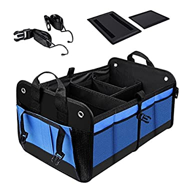 QIANLI Car Trunk Organizer– Portable Collapsible Multi Compartments Car Trunk Cargo Non-Slip Storage Organizer Carrier for Car, Blue