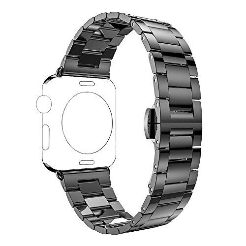 PUGO TOP Cinturino Replacement for Apple Watch, Ultra Sottile in Acciaio Inossidabile Series (Nero 42mm/44mm)