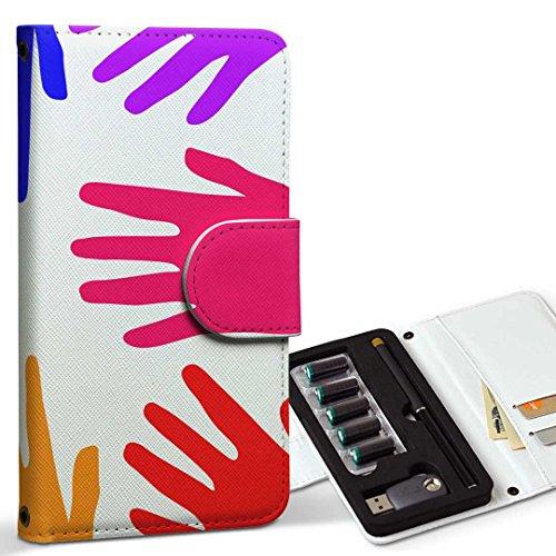 スマコレ ploom TECH プルームテック 専用 レザーケース 手帳型 タバコ ケース カバー 合皮 ケース カバー 収納 プルームケース デザイン 革 ユニーク レインボー 手 006025