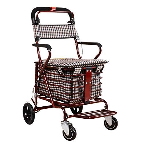 Carrito de la Compra Plegable Asiento Trolley de Cuatro Ruedas Gire el Andador Old Man Trolleys Multifuncional Leisure Shopping Trolley (Color : B)