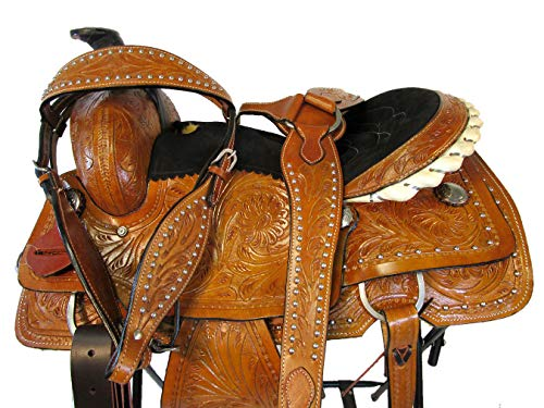 15 16 17 Western PRO Saddle Tooled Leather Roper Ranch Roping Horse TACK Set (17 Inch)