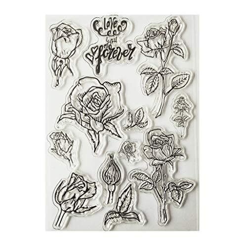 Yunso Rose Blume Silikon Clear Seal Stempel DIY Scrapbooking Prägung Fotoalbum Dekorative Papierkarte Handwerk Kunst Handgemachtes Geschenk