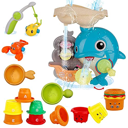 Baby Bath Toys Games - Dolphin Waterfall Station Spin and Flow Bathtub Toys with Fishing Games Stacking Cups Squirt Fish Tub Water Toy for Toddlers Kids Infant Girls and Boys Fun Bath Time Gift