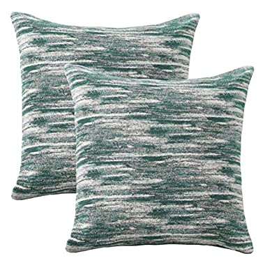 HOME BRILLIANT Abstract Textured Pillow Covers Decorative Cushion Covers for Couch, 18x18 inches, 2 Pack, Green