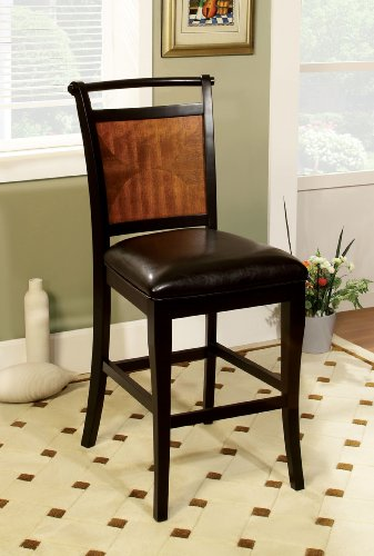Furniture of America Sahrifa Padded Leatherette Counter Height Chair, Acacia/Black Finish