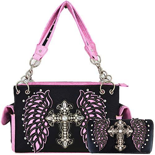 Western-Stil Kreuz Laser geschnittene Flügel Geldbörse versteckt tragen Handtaschen Frauen Country Schultertasche Brieftasche Set, (Set mit 2 Schwarz/Pink.), Large