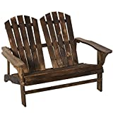 Outsunny Outdoor Adirondack Chair Bench for Two with Ergonomic Design, Wide Armrests, & Fir Wood Build, Brown
