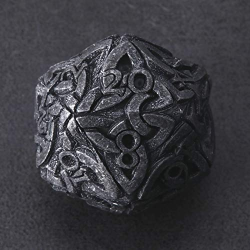 Endless Darkness Dice (Tarnished Black) D20 Dice Celtic Knots Solid Metal Extra Large & Heavy for DnD Dungeons and Dragon Call of Cthulhu Pathfinder Tabletop RPG Polyhedral Dice Rogue Warlock Dice