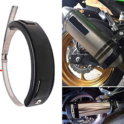Motorrad Auspuff Schutzring Motorrad Modifizierte Auspuffrohr Anti-Drop-Schutzüberzug for Abgasrohr 100-160MM (Color : Black, Ships from : China)