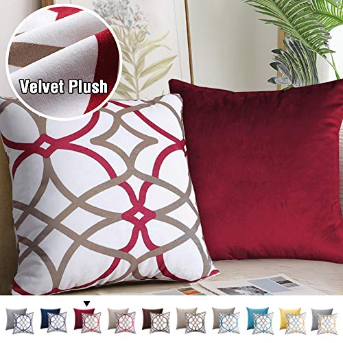 H.VERSAILTEX Original Velvet Cushion Covers 18x18 Mix and Match (Set of 2) Decorative Throw Pillow Covers for Living Room/Sofa/Couch Bed (Red/Taupe&Red)