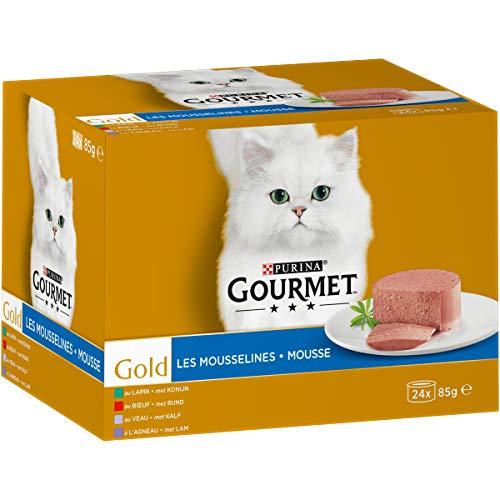pas cher un bon Mousseline Multivariée Gourmet Gold – 24 x 85 g – Boîte pour 1 Chat Adulte – Lot de 4