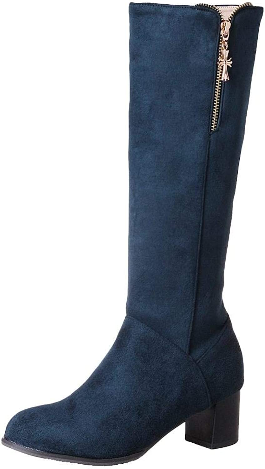 Gcanwea Women's Fashion Knee High Zipper Chunky Mid Heel Boots Comfortable Round Toe Rubber Sole Height Increase Casual Winter Suede Warm bluee 4.5 M US Boots