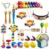 ATDAWN Kids Musical Instruments, 15 Types 22pcs Wood Percussion Xylophone Toys for Boys and Girls Preschool Education with Storage Backpack