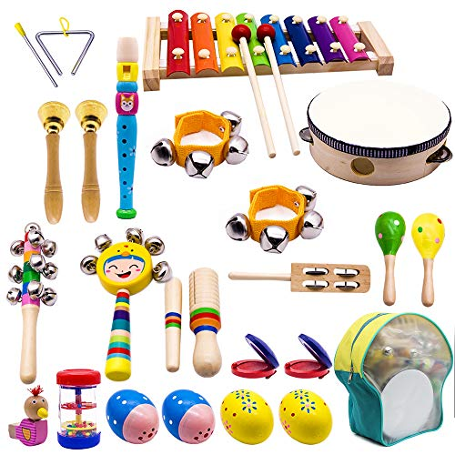 ATDAWN Kids Musical Instruments, 15 Types 22pcs Wood...
