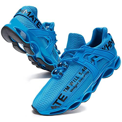 DYKHMATE Zapatillas de Deporte Hombres Mujer Running Zapatos para Correr Antishock Gimnasio Sneakers Deportivas Transpirables (Azul,40 EU)