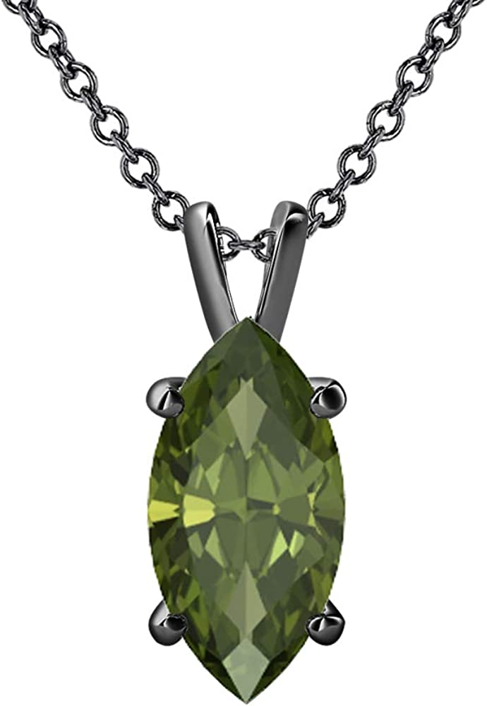 8x4mm To 12x7mm Valentines Day Special Marquise Cut 14k Gold Over .925 Sterling Silver Green Tourmaline Solitaire Pendant Necklace For Womens
