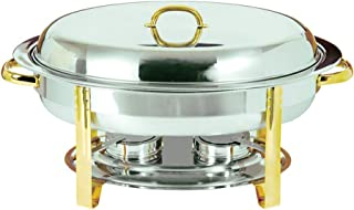 Update International (DC-3) 6 Qt Stainless Steel Oval Gold-Accented Chafer