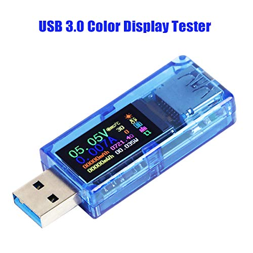 USB 3.0 Tester Multimeter 3.7-30V 0-4A USB Spannungsprüfer USB Digital Strom Spannung Meter Voltmeter Amperemeter IPS Farbdisplay Kapazität Power Charger Detector AT34 (AT34)