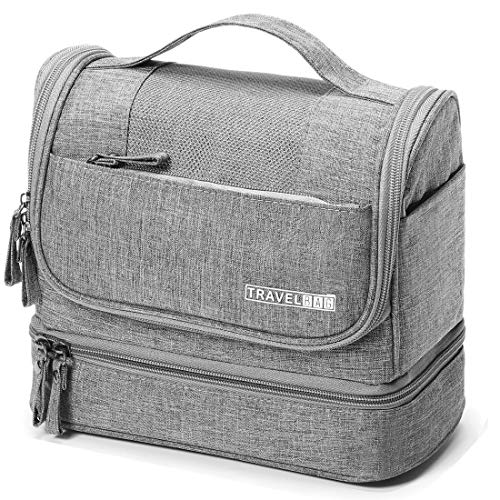 WYTartist Hanging Travel Toiletry Bag for Men and Women with Dry and Wet Separation 2 Layers Design (Grey)