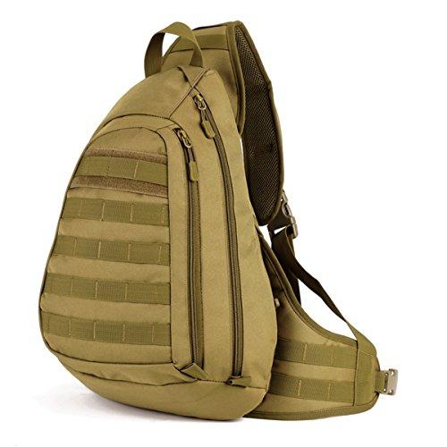 GES Nailon Tactical Cross Body Mochila Militar Sling Backpack Chest Bag Large Laptop Messenger Bag Montar Daypack para Acampar y Caminar (Marrón)