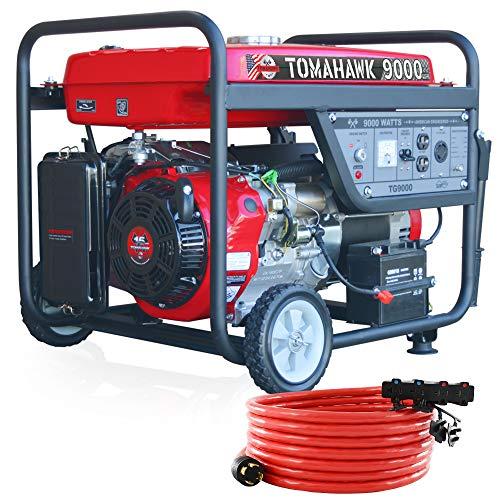 Tomahawk 9000 Starting Watt Electric Start Gas Power Portable Generator for Home Us with Wheel Kit