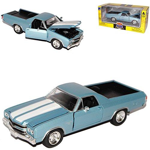New Ray Chevrolet Chevy EL Camino Blau Silber Pick-up 3. Generation 1968-1972 1/25 1/24 Modell Auto mit individiuellem Wunschkennzeichen