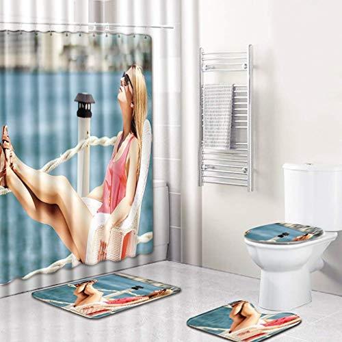 SYWJ Alfombra de baño Antideslizante Juego de baño de 4 Piezas, Cortina de Ducha y 3 tapetes (tapete de baño Antideslizante + tapete de Pedestal + Funda de Asiento de Inodoro) 4 Patrones de Belle