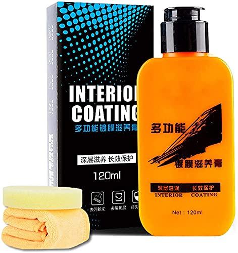 LASULEN Ecoglare Leather & Plastic Renewal Coating, Superficie de Cuero y plástico de envejecimiento refrescante Lavable, Pasta para reacondicionamiento de Cuero y plástico para automóviles