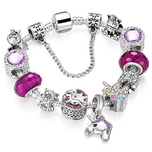 Love Beads Charms Bracelet for Girls and Women Murano Glass Beads Rose Flower Charms Amethyst Bracelets (Colorful heart charm bracelet)
