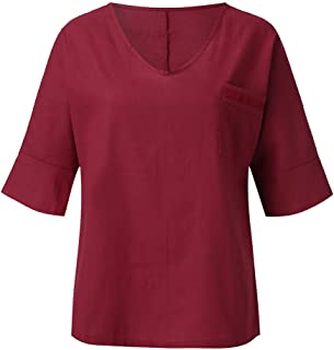 Padaleks Women's Blouses Summer Casual V Neck Short Sleeve Pockets Loose Cotton Linen Tunic Top T-Shirts