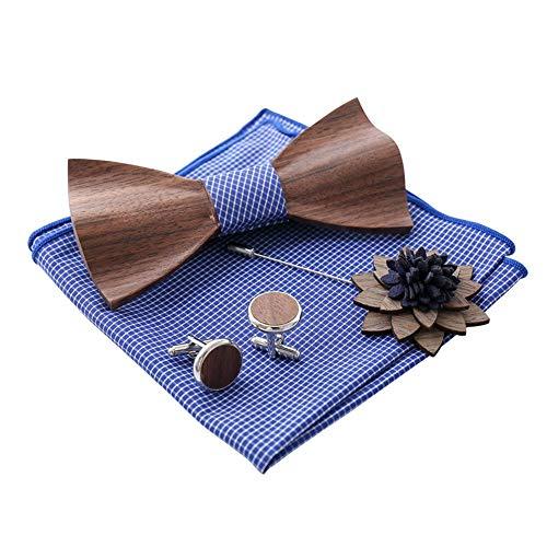 SuDeLLong Bowtie Heren Houten Strik Zakdoek Manchetknopen En Corsage Set Verjaardag Bruiloft Party Houten Verpakking Geschenken Verstelbare Bow Ties