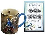 Lola Bella Gifts and Lang Blue Jay Mug and Blue Feathered Soul Poem Card Box Sympathy Grief Memorial Gift