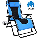 OT QOMOTOP Oversized Zero Gravity Chair, 22.8''W Padded Seat, Adjustable Reclining Angle with Lock, Lounge Patio Chair with Cup Holder, Folding Recliner, Support up to 350lbs (Blue)