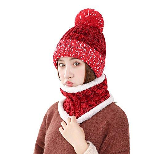 TININNA Femmes Automne et Hiver Chaud Mignon Bonnet Bonnet avec écharpe Ensemble Ski Cap et Neckerchief Set avec Pom Pom Rouge