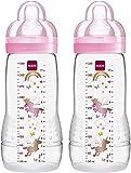 Mam Easy Active, Set di 2 Biberon con Tettarella Misura 3 (Flusso Rapido), 4+ Mesi, 330 Ml, Trasparente e rosa