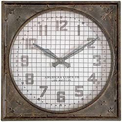 Uttermost Warehouse Wall Clock with Grill in Mottled Rust Brown