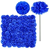100 Pack Artificial Carnation Flowers Picks Bulk Royal Blue Carnations Stems Silk Carnation Flower Heads with Wired Stems 3.5' x 7.9' (WXH) Floral Arrangement DIY Wreaths