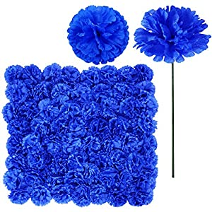 100 Pack Artificial Carnation Flowers Picks Bulk Royal Blue Carnations Stems Silk Carnation Flower Heads with Wired Stems 3.5″ x 7.9″ (WXH) Floral Arrangement DIY Wreaths