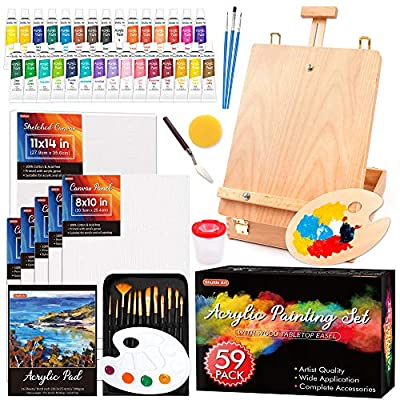 Acrylic Painting Set, Shuttle Art 59 Pack Professional Painting Supplies with Wood Tabletop Easel, 30 Colors Acrylic Paint, Canvas, Brushes, Palette, Complete Painting Kit for Kids, Adults, Artists
