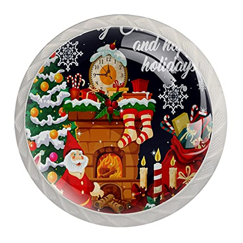 4 Pcs Cabinet Knobs Crystal Glass Drawer Handles,Christmas Sock Xmas Tree Stove Santa Claus,for Dresser Desk Kitchen Door