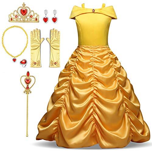 FStory&Winyee Mädchen Prinzessin Belle Kostüm Party Kleid Kinder Karneval Verkleidung Beauty and The Beast Fancy Dress Cosplay Outfit Diadem,Handschuhe,Zauberstab,Ohrringe,Halskette,Ring