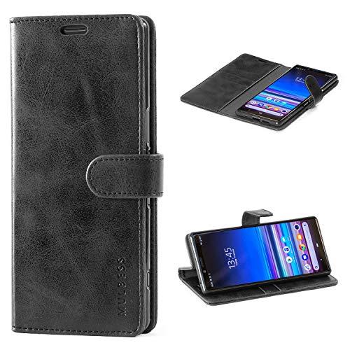 Mulbess Handyhülle für Sony Xperia 1 Hülle Leder, Sony Xperia 1 Handy Hüllen, Vintage Flip Handytasche Schutzhülle für Sony Xperia 1 Hülle, Schwarz