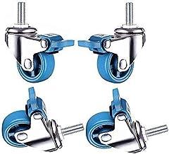 Zwenkwielen, blauwe nylon wielen, zwenkwielen met zwenkwielen met rem, vervangende zwenkwiel voor meubels, slijtvast, schr...