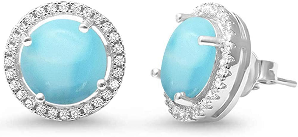 Natural Larimar Halo .925 Earrings Dealing full price reduction Silver Sterling Special sale item
