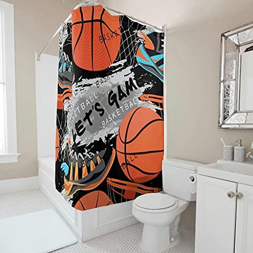 Gamoii Cortina de ducha con diseño de balón de baloncesto, con impresión 3D, para hotel, casa, sin olores, con anillos, color blanco, 180 x 180 cm