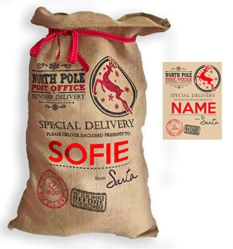 SMARTYPANTS Extra Large Personalised Premium Hessian Santa Sack North Pole Post Office