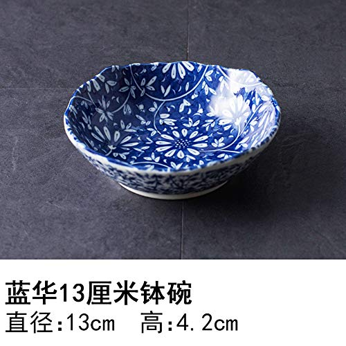 YUWANW Japon Plaque en Céramique Importés De Vaisselle en Porcelaine Importations Japonaises De Plat Dessert Saladier Plat Bol, Hua Bleu 13 Cm Bol Bol