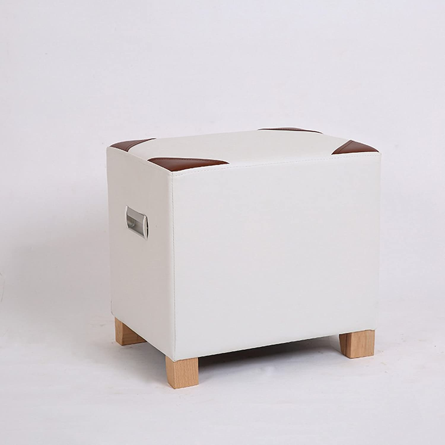 Modern Minimalist Style Solid Wood Square Stools, Creative Leather Stools, Den Living Room Bedroom Stools, Footstool, shoes Bench, Sofa Stool, Coffee Table Stool, Home Bench, 40  30  40cm