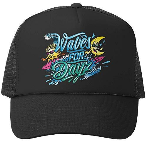 Grom Squad Kids Trucker Hat - Mesh Adjustable Baseball Cap for Boys & Girls - Baby, Infant, Toddler, School-Age Sizes (0-2yrs (Mini), Waves for DayZ, Black & Black)